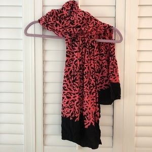 "Pink Coral and Black Neck Scarf 64"" X 42""  S69"